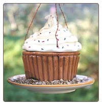 Ceramic Cupcake Wild Bird Feeder