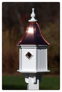 Vinyl with copper roof decorative birdhouse