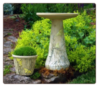 Hand Painted Bird Bath with Matching Planter