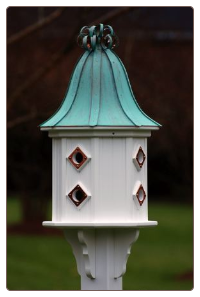 8 Compartment Dovecoat Vinyl and Copper Birdhouse
