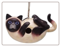 Siamese Cat Hand Crafted Birdhouse