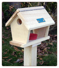 small wooden mealworm feeder