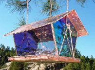 Copper and stained glass bird feeder