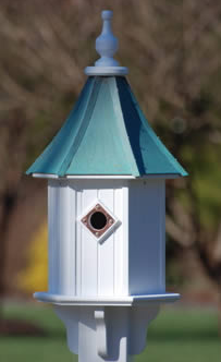 architectural copper roof birdhouse with single entry and verde finish