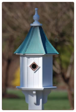 architectural copper roof bluebird house in white vinyl