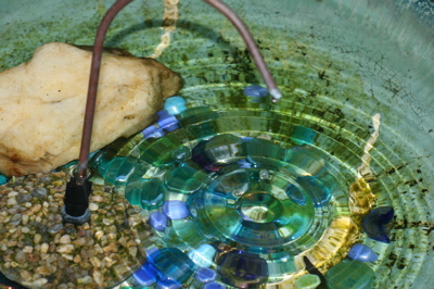 copper dripper in a bird bath