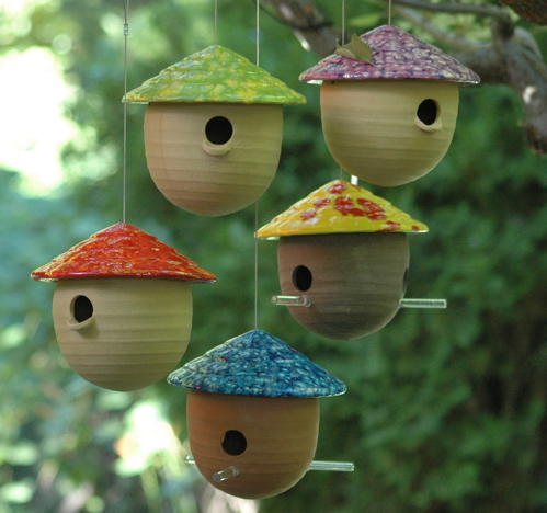 hand crafted ceramic gourd decorative bird houses