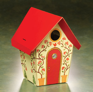 This Totally Green Brdhouse Kit finished project is shown painted in vivid colors.