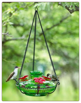 basin style hand blown glass hummingbird feeders