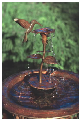 Copper Hummingbird Bird Bath Dripper