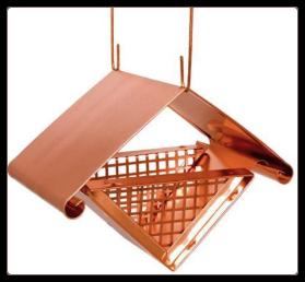 solid copper architectural peanut bird feeder