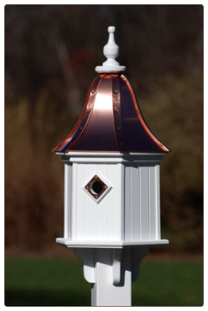 copper roof vinyl decorative bird houses are made to resemble wood