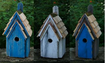 bluebird manors are solid cypress bluebird houses hand painted in various hues