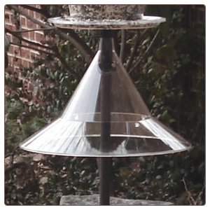 The sky Cafe Post Mount Baffle turns your feeders into squirrel proof bird feeders