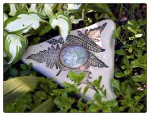 stoneware and recycled glass butterfly feeder and puddler