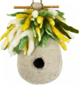 Add these fun wool houses to your wood birdhouses to encourage nest building