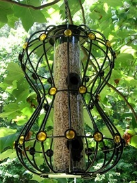 Cool Hour Glass squirrel proof bird feeders feature bling and style