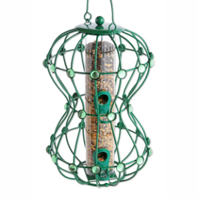 The Hour Glass squirrel proof bird feeders come in bronze, pewter and turquoise