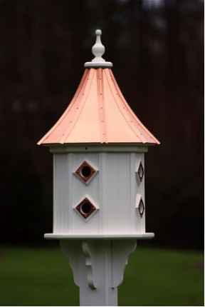 copper roof and pvc/vinyl construction keep this dovecote birdhouse looking new for years