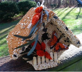 A bird Feeder for any season, the edible birdhouse is useful year-round