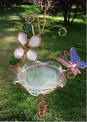 Stained Glass & Copper Mini Hanging Bird Bath  comes in six fun designs