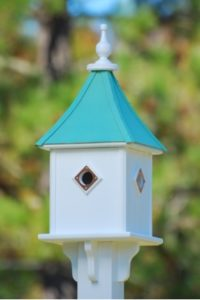 Patina Copper roof Birdhouse with four compartments