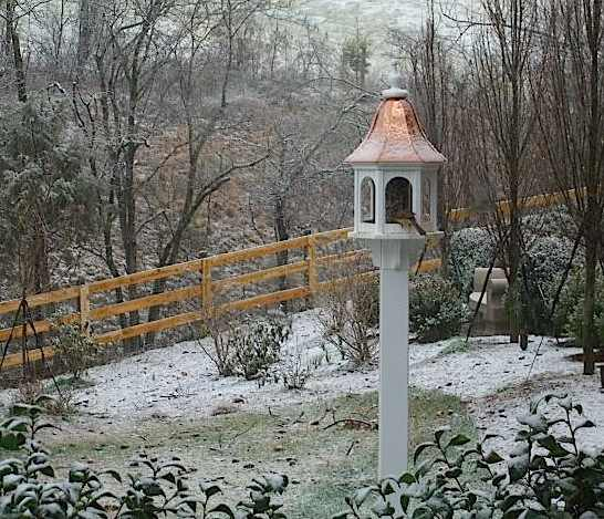 Copper Bird Feeder is picturesque on this snowy morning