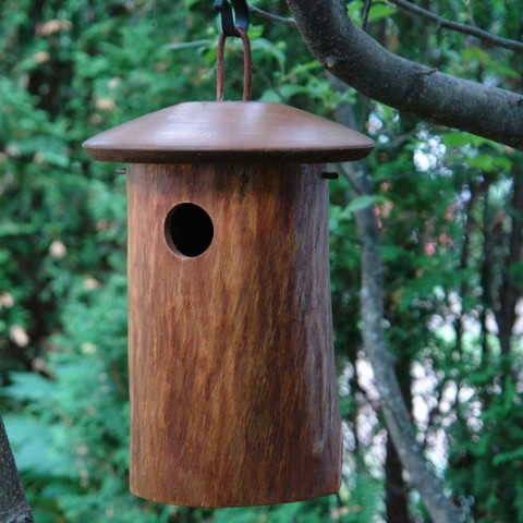 Mango Wood Natural Bluebird House is handcrafted and bluebird approved!