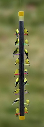 Fun Thistle Feeder filled with Goldfinches
