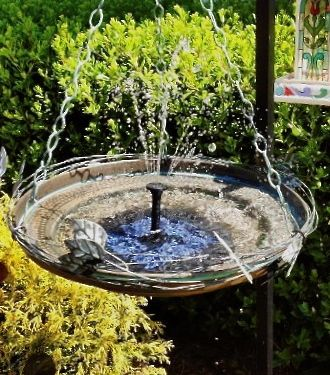Small yards and gardens can still have big punch with a hanging bird bath