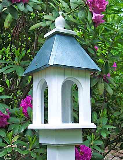 Durable vinyl/PVC, these look just like copper bird feeders