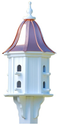 USA made copper roof birdhouse is durable vinyl and guaranteed to last