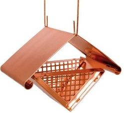 Cool copper bird feeder is for shelled peanuts, suet, fruit and more!