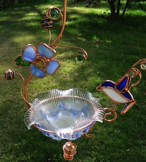 Stained glass and copper mini hanging bird bath will last a lifetime!