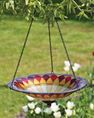 glass hanging bird bath