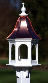 Gazebo Copper Bird Feeder is crafted with vinyl that lasts a lifetime!