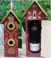This unique birdhouse provides a cool presentation for a special bottle, and two nest sites to boost!