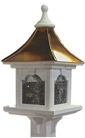 The classiest of our hopper bird feeders shown in a post-mounted model