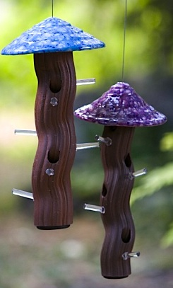 Groovy ceramic tube bird feeder is ideal for black oil sunflower seed