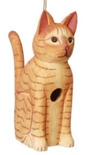tabby cat wood birdhouses