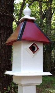 vinyl birdhouses and unique feeders in team colors