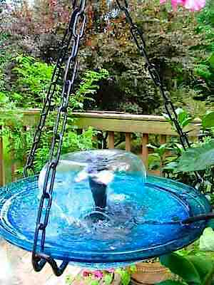 add a fountain to your hanging birdbath