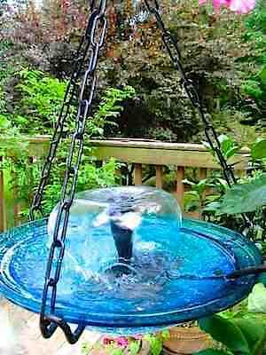 Add A Fountain To Your Hanging Birdbath