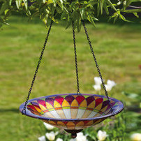 Hanging bird bath with tiffany painted glass