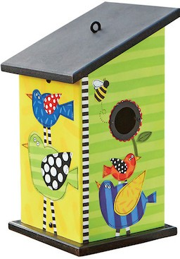 Fun vinyl birdhouse is well suited for bluebirds - but difficult to monitor