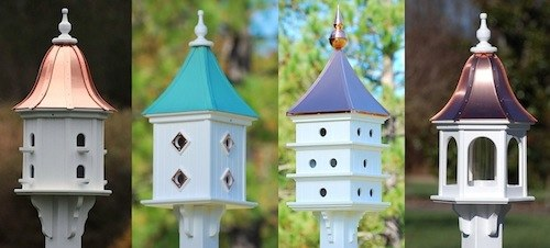 copper roof birdhouses from small to large