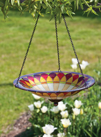 Tiffany Glass Hanging Bird Bath is perfect for the deck