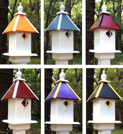 Fathers-Day-Bluebird and Dovecote Birdhouses in Team Colors