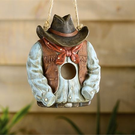 unique birdhouse is cowboy attire