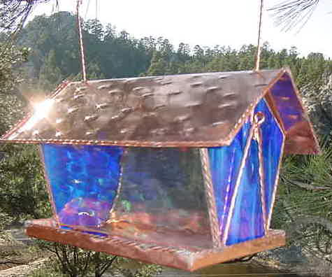 Copper Bird Feeder is carfted with stained glass